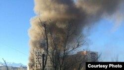 Пожар в южной части Бишкека.