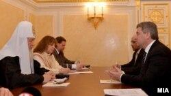 Претседателот Ѓорге Иванов се сретна со Патријархот на Руската православна црква г.г. Кирил во Москва во февруари минатата година.