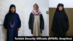 Rasmiya Awad (left to right), her husband, and her daughter-in-law were detained on November 4. (combo photo)