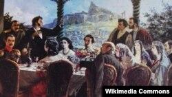 Картина «Пушкин читает стихотворение». Автор – Ш.Метревели.