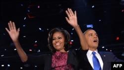 Presidenti Barack Obama deh Zonja e parë Michelle Obama pas fitores në zgjedhjet presidenciale