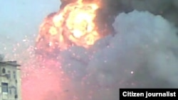 One of the early images, sent by a citizen journalist, of the July 7 explosions in Abadan