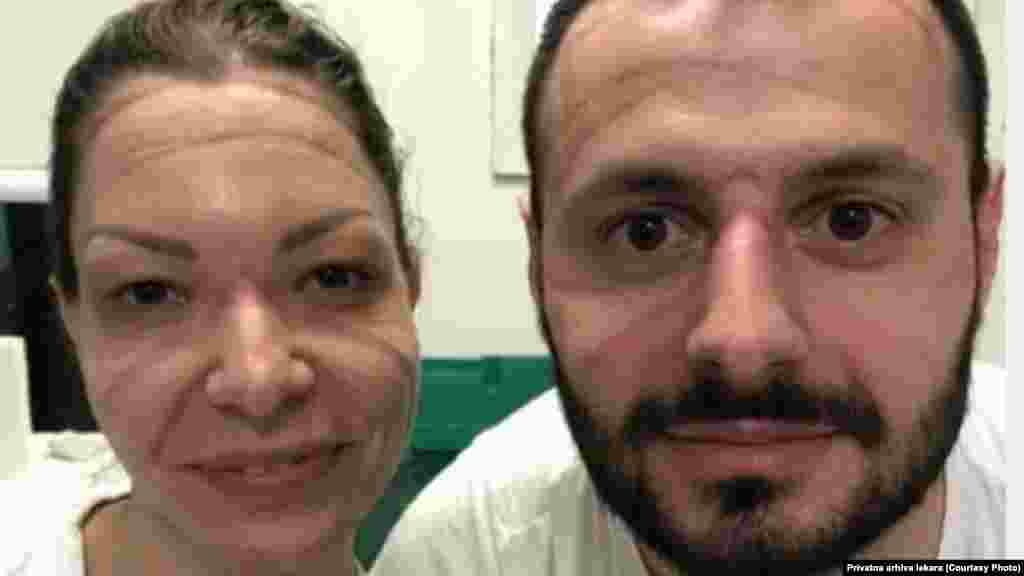 Doktorka Milena Stojanović i tehničar Nikola Trajković na pauzi između smena, COVID bolnica Kliničkog centra u Nišu.