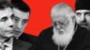 Колаж с лицата на премиера Гиорги Гахария, Бидзина Иванишвили и патриарх Илия II