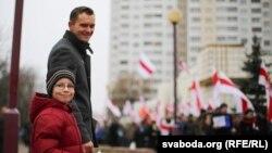 Участники сегодняшней манифестации в Минске