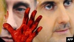 Portreti i Vladimir Putinit dhe i Bashar al Asadit