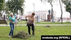 Уцэнтральным парку жанчыны зграбаюць скошаную траву