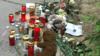 Импровизированный мемориал на месте обнаружения мертвой Хадишт в Вене, Австрия