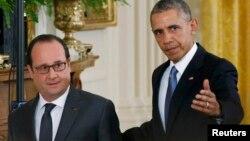Президент США Барак Обама принимает в Белом доме президента Франции Франсуа Олланда 24 ноября 2015 года
