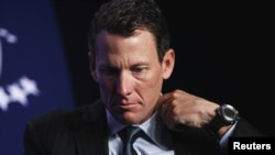 U.S. cyclist Lance Armstrong at a 2010 charity function