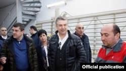 Nagorno-Karabakh - Armenian Prime Minister Karen Karapetian visits a manufacturing firm in the Martuni district, 16Dec2017.