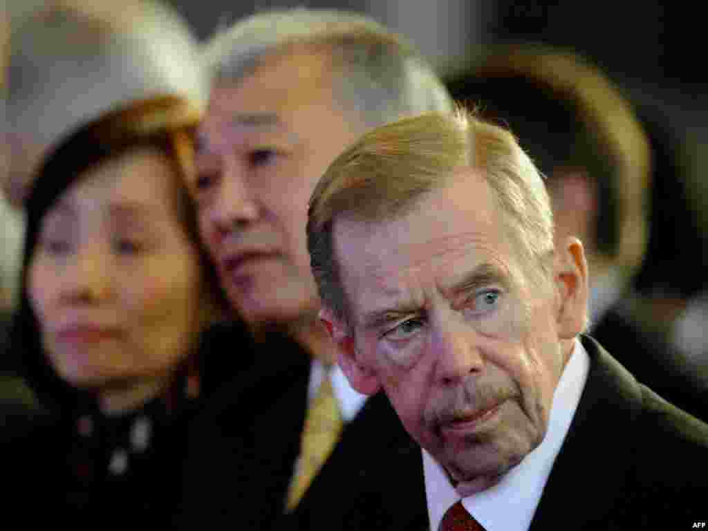 Vaclav Havel looks on at the 15th Forum 2000 Conference in Prague in October 2011.