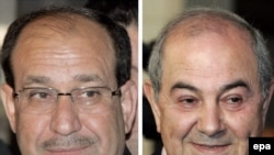 A composite file picture shows Iraqi Prime Minister Nuri al-Maliki (left) and Ayad Allawi, leader of the Al-Iraqiya bloc