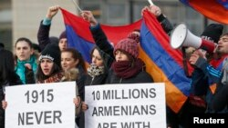 France -- Armenian protesters demonstrate near the European Court of Human Rights in Strasbourg, January 28, 2015