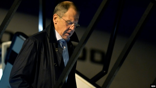 Russian Foreign Minister Sergei Lavrov arrives for talks over Iran's nuclear program in Geneva in 2013.