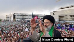 Presidential candidate Ebrahim Raeesi, during a campaign rally in the city of Mashhad, on May 17, 2017.