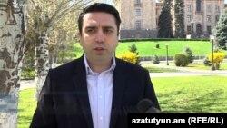 Armenia - Deputy parliament speaker Alen Simonian, speaks to RFE/RL, Yerevan, April 13, 2019