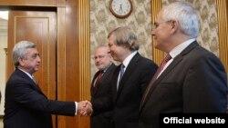 Armenia -- President Serzh Sarkisian greets OSCE Minsk group co-chairs, Yerevan, 20Jul2015