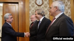 Armenia -- President Serzh Sarkisian greets OSCE Minsk group co-chairs, Yerevan, 20Jul2015