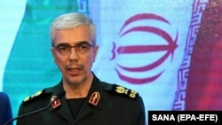 FILE - Iranian army Chief Of Staff Mohammad Baqeri, speaks during a press conference in Damascus, March 18, 2019