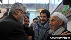 Ayatollah Yusef Sanei (right) has come under attack by hard-liners over his support for opposition leader Mir Hossein Musavi (left).