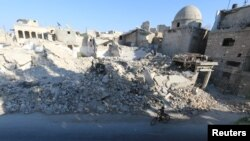 Pamje nga shkatërrimet e luftës në qytetin Alepo në Siri