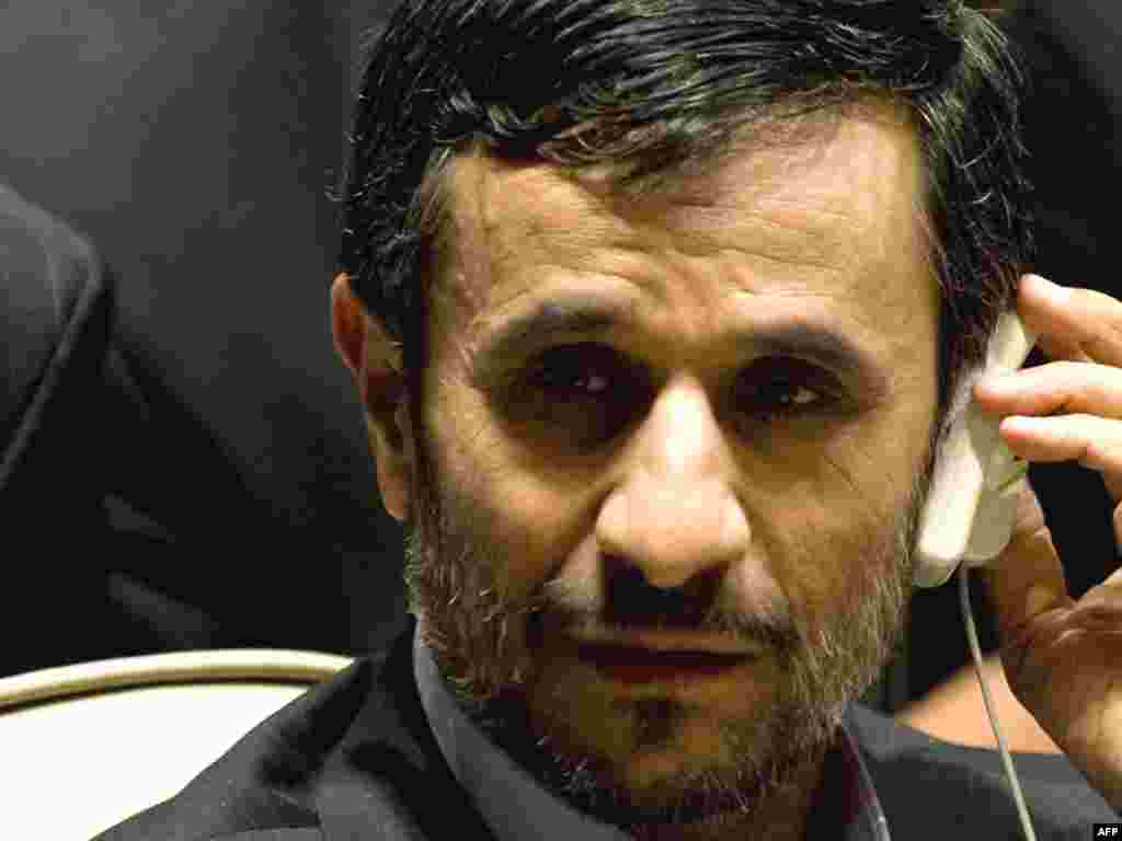 Rights and democracy advocates were particularly targeting the appearance of Iran's President Mahmud Ahmadinejad.