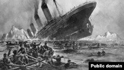 Илустрација на потонувањето на Титаник