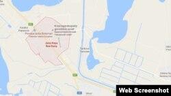 Фрагмент карты Google с населенным пунктом Красноперекопск, переименованным в Яны Капу.