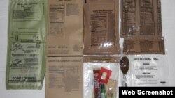 Склад однієї порції американських сухих пайків MRE