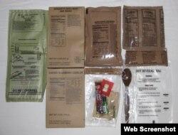 Склад однієї порції сухого пайка MRE (фото з сайту MREinfo.com)