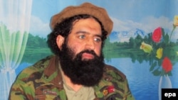 A video grab shows the TTP's former spokesman, Shahidullah Shahid, at an undisclosed location at the Pakistani-Afghan border; undated.