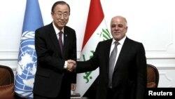 رئيس الوزارء حيدر العبادي مستقبلاً أمين عام الأمم المتحدة بان كي مون