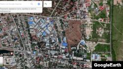 «Бишкек» эркин экономикалык аймагынын шаардагы участогу. «Google» картадан алынган сүрөт.