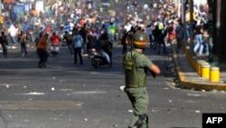 Венесуэла. Стычки студентов с гвардейцами