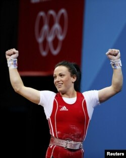 Moldova's Cristina Iovu won bronze in the women's 53-kilogram weightlifting group.