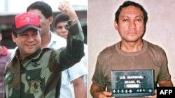 Мануэль Норьеганың 1989 жылы қазанда Панамадағы (сол жақта) және 1990 жылы қаңтарда Майями түрмесінде отырған кездегі суреті.