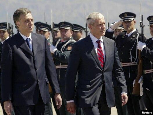 Predsjednici Crne Gore Filip Vujanović (L) i Srbije Boris Tadić (D) 8. jula u Podgorici