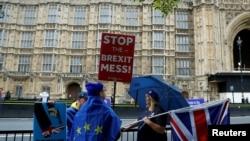 Disa protestues kundër Brexitit në Londër.