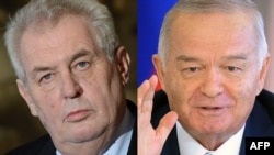 A combo photo shows Czech President Milos Zeman (L) and Uzbek President Islam Karimov