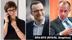 Namizədlər Annegret Kramp-Karrenbauer, Jens Spahn (ortada) və Friedrich Merz