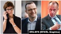Cei trei candidați la succesiunea Angelei Merkel în fruntea CDU: Annegret Kramp-Karrenbauer, Jens Spahn și Friedrich Merz