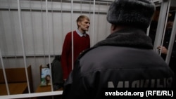 The trial of Syarhey Kavalenka, who is seen here in the dock during his trial in Vitsebsk last week, ended with a new two-year jail sentence over an alleged parole violation.