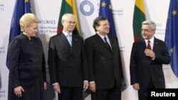 Lithuania -- President Dalia Grybauskaite (L-R), European Council President Herman van Rompuy and European Commission President Jose Manuel Barroso welcomes Armenian President Serzh Sarkisian during EU Eastern Partnership summit in Vilnius, November 29, 2