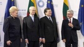 Lithuania -- President Dalia Grybauskaite (L-R), European Council President Herman van Rompuy and European Commission President Jose Manuel Barroso welcomes Armenian President Serzh Sarkisian during EU Eastern Partnership summit in Vilnius, November 29, 2