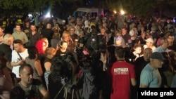 Акция протеста у здания телекомпании «Рустави 2» в ночь на 8 июля