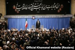 """Slap in the face"": Supreme Leader Ayatollah Ali Khamenei delivers a speech in Tehran on January 8."