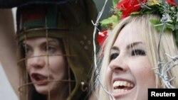 Femen members protesting in Zurich in February (file photo)
