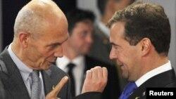 Генеральный секретарь ВТО Паскаль Лами и президент России Дмитрий Медведев.