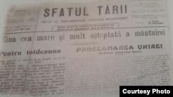 """Anunțul Unirii în """"Sfatul Țării"""" (Sursă: Vol. Basarabia în actul Marii Uniri de la 1918)"""
